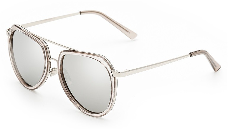 Bamware Crys - Storm Grey Acrylic Mirrored Aviators
