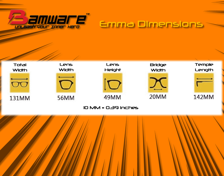 Bamware Emma Gold Square Aviator Sunglasses Dimensions