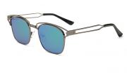 Bamware – Frankie Flat Lens Art Deco Gunmetal Sea Sunglasses