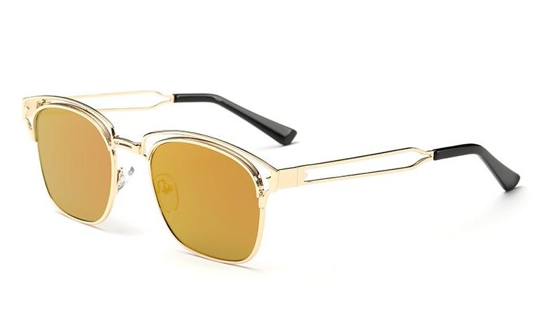 Bamware - Frankie Flat Lens Art Gold Deco Sunglasses
