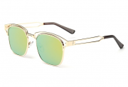 Bamware – Frankie Flat Lens Art Deco Gold Mint Sunglasses