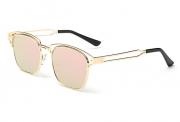 Bamware – Frankie Flat Lens Art Deco Gold Pink Sunglasses
