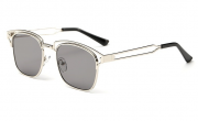 Bamware – Frankie Flat Lens Art Deco Chrome Grey Sunglasses