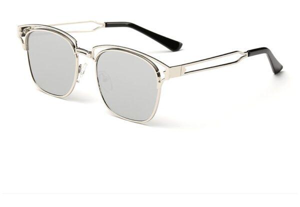 Bamware - Frankie Flat Lens Art Deco Chrome Sunglasses